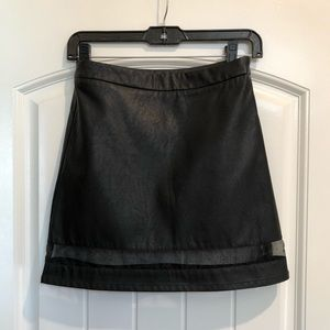 Faux Leather Mesh Skirt